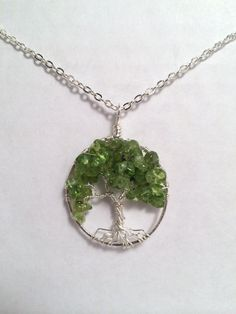 Sterling Silver Peridot Tree Of Life Necklace On by Just4FunDesign, $45.00