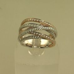 White and rose gold diamond fashion ring! Stunning and trendy!