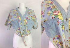 Vintage Floral Tie Waist Top #sixcatsfunVINTAGE #grunge #croptop #waisttietop #tiewaisttop #floraltop #vintage #etsy #bellyshirt #gitano #80s