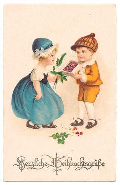 Euro Ellen Clapsaddle - Boy Gives Girl Chocolates for Christmas