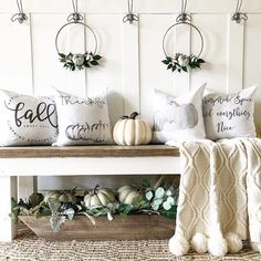 This was just one of my favorites from last fall of my entryway. Whose ready to decorate or have already started for Fall? Fall pillows by . Fall Home Decor, Autumn Home, Farmhouse Style, Farmhouse Decor, Farmhouse Front, Farmhouse Design, Country Decor, Modern Farmhouse, Door Bench
