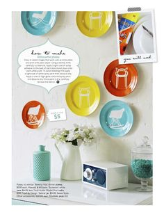 For the dining room--paint plates and add vinyl words