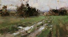 Tibor Nagy - landscape, field, ditch, puddle, tree, grass