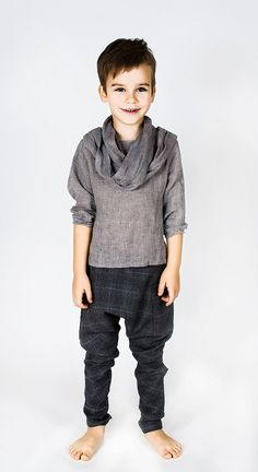 When I have a son I'm going to dress him like peter pan/the arabian knights! :) Boys Grey Linen Shirts with scarf for boys / Cool Top / Infinity Scarf / Modern Design