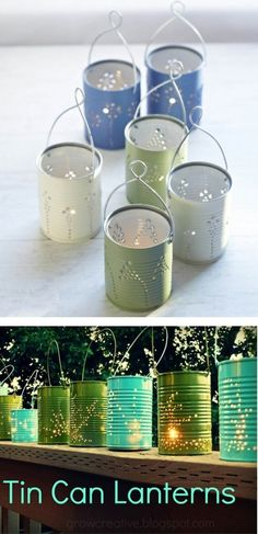 DIY Tin Can Lanterns - recycle food cans These would be cheaper and safer than glass mason jars Tin Can Lanterns, Mason Jar Lanterns, Mason Jars, Tin Can Crafts, Fun Crafts, Diy And Crafts, Arts And Crafts, Formula Cans, Craft Projects