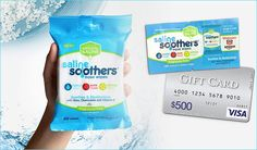Completethe form to claim a free saline soothers nose wipes sample and get the chance to win a $500 visa gift card! Ends 10/13/16.   Free Saline Soothers Sample