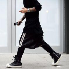 Outfit Idea #4 - Black - Sports Leggings + Long Shorts + Long-Sleeve Shirt + High-Top Sneakers