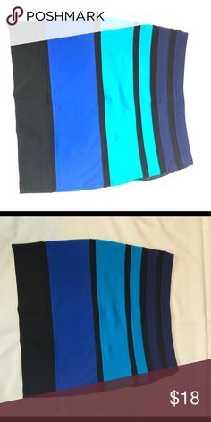 Blue color block fitted skirt Express, Fitted mini skirt with nice thick material. Zipper on the back. Express Skirts Mini
