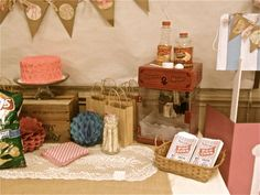 Some of the dessert table for a Vintage Count y Fair 1st birthday party.   Popcorn bags ordered from etsy.com