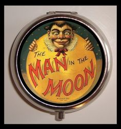 Man in the Moon Vintage Children's Book Vintage Victorian Imagery Steel Pill Box Case New