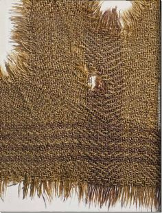 Figure Woolen cloth with brown stripes, from the ancient salt mine at Hallstatt BCE housed presently at the Naturhistorisches Museum, Vienna, Austria. Textiles, Prehistoric Age, Celtic Clothing, Alexandre Le Grand, Viking Age, Iron Age, Picts, Ancient Artifacts, Archaeology