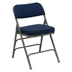 Hercules Series Premium Curved Triple Braced and Quad Hinged Metal Folding Chair Navy - HA-MC320AF-NVY-GG
