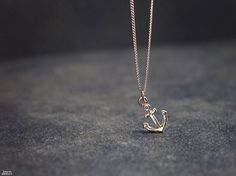 Silver anchor necklace  tiny charm nautical bff by mardiBIJOUX, $12.00