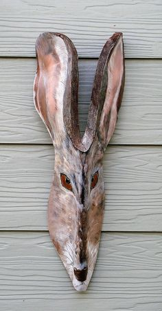 Wild Hare cut from a Queen Palm Frond Boot by jungletoosea on Etsy Palm Frond Art, Palm Tree Art, Palm Fronds, Palm Trees, Tiki Man, Reindeer Face, Bamboo Art, Found Art, Art Archive