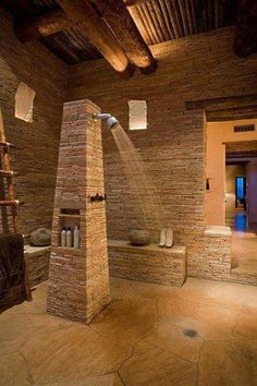 Cool Sculptural Rough Stone Bathroom Design : Cool Sculptural Rough Stone Bathroom Design With Stone Shower And Wooden Beams And Stone Floor. Dream Bathrooms, Dream Rooms, Beautiful Bathrooms, Small Bathrooms, Rustic Bathrooms, Coolest Bathrooms, Unusual Bathrooms, Luxurious Bathrooms, Master Bathrooms