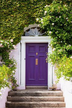 Front Door Paint Colors - Want a quick makeover? Paint your front door a different color. Here a pretty front door color ideas to improve your home's curb appeal and add more style! House, Painted Doors, Windows And Doors, Painted Front Doors, Purple Front Doors, House Exterior, Beautiful Doors, Curb Appeal, Doors