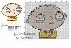 Stewie Griffin Family Guy cartoon character free cross stitch pattern