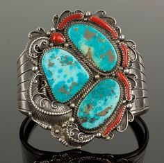 EM SIGNED Sterling Silver Large Three Stone Turquoise Coral Cuff Bracelet