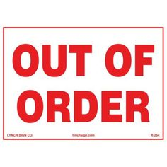Invaluable image for out of order sign template