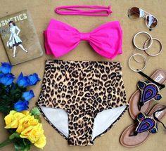 Pre-Order: Pink Bow Bandeau Halter Strap Leopard Highwaist Swimsuit Swimwear Bikini Bathing Suit Pin Up on Etsy, $20.00