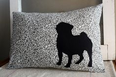 PUG pillow! Gray, white and black - perfect for the living room...