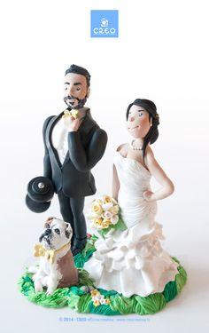 #Caketopper #divertente con #cane per un #matrimonio #unico e #orginale #styleCREO #creocreativa #matrimonioriginale