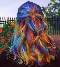 #RainbowHair #Summer #Hair #FashionIllustrations @illumistica| Be Inspirational ❥|Mz. Manerz: Being well dressed is a beautiful form of confidence, happiness & politeness