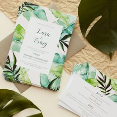 You want a wedding event invitation to complement the overall theme and mood of the wedding. Is your wedding official or casual? A formal wedding might need timeless script font styles, official wording, and the conventional double envelope. Make Your Own Wedding Invitations, Botanical Wedding Invitations, Wedding Invitation Inspiration, Beautiful Wedding Invitations, Beach Wedding Invitations, Wedding Invitation Wording, Bridal Shower Invitations, Wedding Book, Wedding Sets