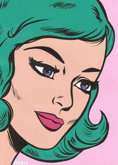 Pop Art Girl with Green Hair...and she isn't crying!
