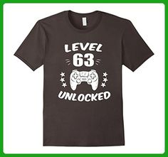 Mens Level 63 Unlocked T-Shirt Video Gamer 63rd Birthday Gift Tee 2XL Asphalt - Gamer shirts (*Amazon Partner-Link)