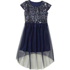 George Girls' Hi Lo Sequin Mesh Dress, Size: 7/8, Blue
