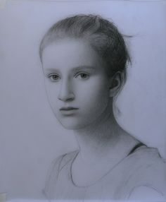"Drawing of Charlotte (2013).  Graphite on paper, 17"" x 14"". Study for an oil painting in progress."