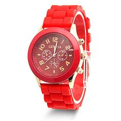 Estone Classic Womens Girls Geneva Silicone Jelly Gel Quartz Analog Sports Wrist Watch Red *** Be sure to check out this awesome product.Note:It is affiliate link to Amazon.