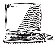 Desktop Computer Monitor Keyboard Mouse Drawing