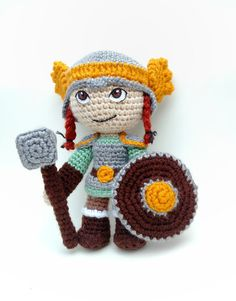 Dwarf Female Viking Warriors - Norse Warrior - Crochet Doll - Viking Valkyrie Warrior - Fantasy Doll - Medieval Creatures - Mythical Races