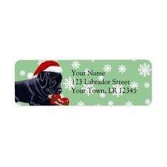 Black Labrador Retriever Christmas Snowflake Return Address Label by Naomi Ochiai