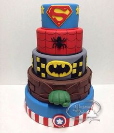 Super Heroes as Cake! Marvel Cake, Superman Cakes, Avengers Birthday, Superhero Birthday Party, Beautiful Cakes, Amazing Cakes, Pastel Mickey, Bolo Fack, Cake Designs For Boy