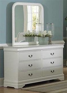 Marianne Casual White Wood Metal Glass Dresser