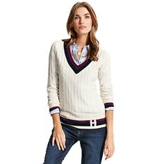 Tommy Hilfiger women's sweater. Our cricket sweater has never been softer thanks to plush wool blend with a touch of cashmere. Dry clean only