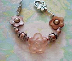 Pink Lucite Rose with Glass Pearls and Shell Flower by joyceshafer