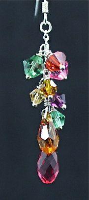 Swarovski earrings w/colorful clusters, Love2BeadbyCindy