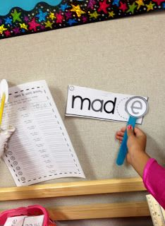 long vowels with bossy e. The students make their own little bossy e wand and walk around the room adding the e and recording the new word. FREE