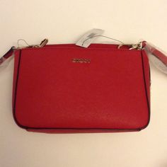 Authentic DKNY Handbag Authentic DKNY Saffiano Leather double crossb red. Great condition. DKNY Bags