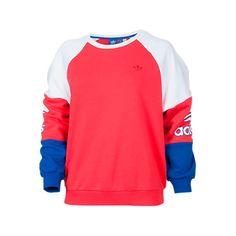 Adidas Women's Originals LA Crew Sweatshirt, Red (€21) ❤ liked on Polyvore featuring tops, hoodies, sweatshirts, red, crew neck sweatshirts, adidas, color block top, crew top and block tops