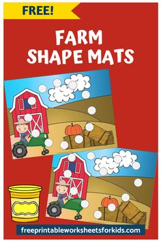 This farm-themed printable activity will help your child learn shapes and develop fine motor skills. It can be used with playdough, pom poms, dot markers etc. #freeprintableworksheetsforkids #fall #autumn #farm #animal #shape #color #pompoms #math Free Printable Worksheets, Worksheets For Kids, Alphabet Worksheets, Free Preschool, Preschool Printables, Kids Learning, Early Learning, Farm Activities, Kool Kids