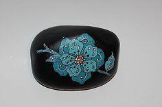 Original Hand Painted Turquoise Flower on Rock Stone Art | eBay