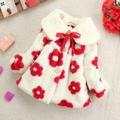 Winter Children Fashion Sun Flower Rabbit Coat Sweater Girl Clothing