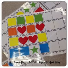 **Free patterning strips - these make for a very easy independent math center at the beginning of the year! Kindergarten Centers, Preschool Math, Math Classroom, Kindergarten Classroom, Math Centers, Teaching Math, Math Activities, Classroom Ideas, Math Patterns