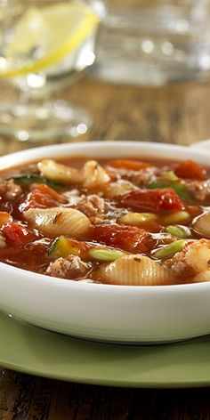 Simple Italian soup featuring ground beef, vegetables and pasta