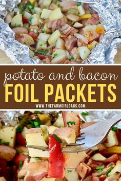 Fire up the grill and make this Potato And Bacon Foil Packets recipe. This easy grilled side dish is a perfect summer recipe or camping recipe. And it has bacon in it! Foil Packet Meals, Foil Packets, Grilling Recipes, Pork Recipes, Cookbook Recipes, Family Recipes, Camping Meals, Camping Recipes, Camping Dishes